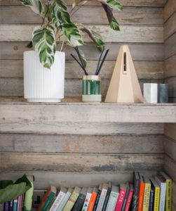 Bookshelves with plant and books mobile view